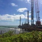 Pile-driving nears completion for AMCP, decking 'on deck'
